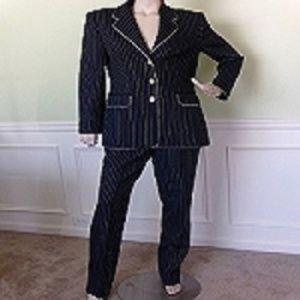 Escada Executive Women Blue Striped Suit 44